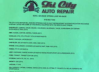 AC equipped R-1234YF Service| Tri City Auto Repair